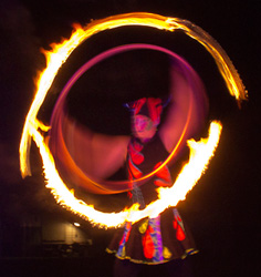 flaming circus hoop